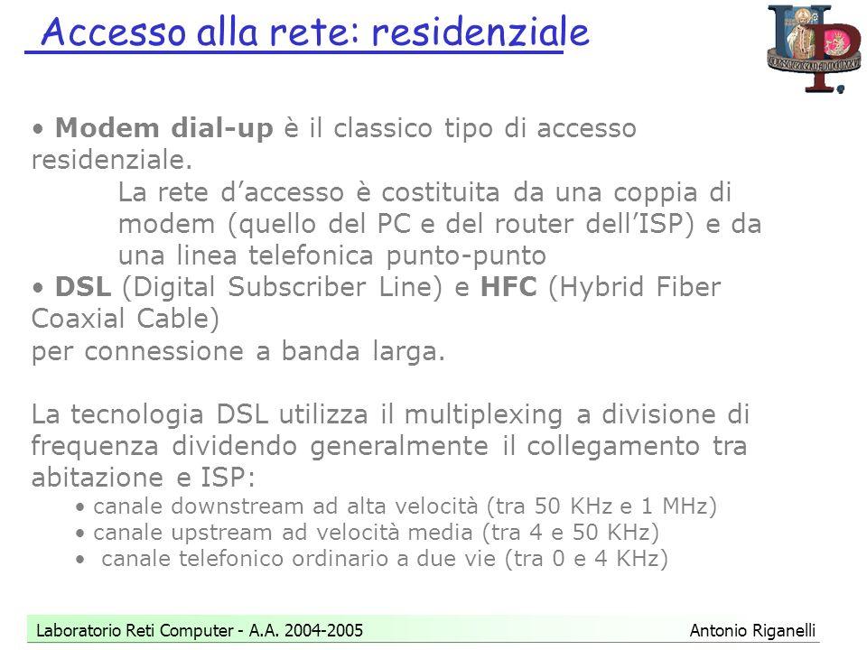 Accesso alla rete: residenziale Laboratorio Reti Computer - A.A.
