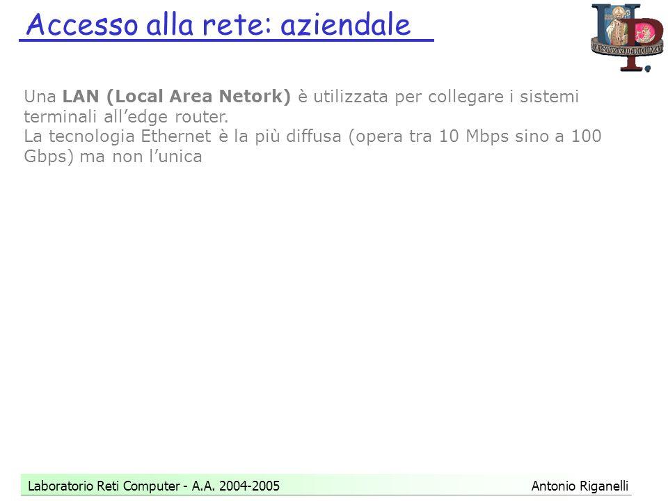 Accesso alla rete: aziendale Laboratorio Reti Computer - A.A.