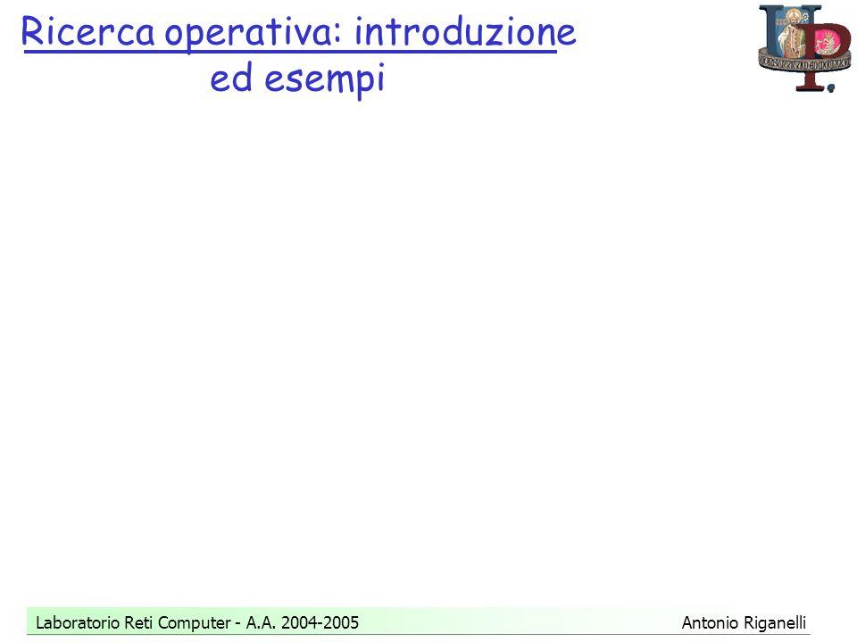 Ricerca operativa: introduzione ed esempi Laboratorio Reti Computer - A.A.