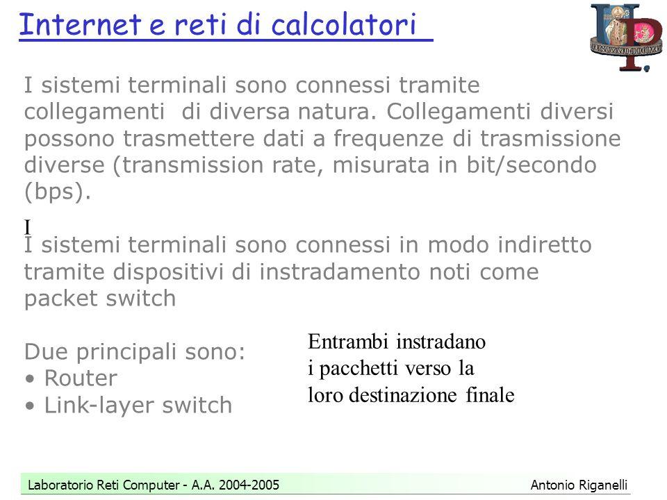 Internet e reti di calcolatori Laboratorio Reti Computer - A.A.