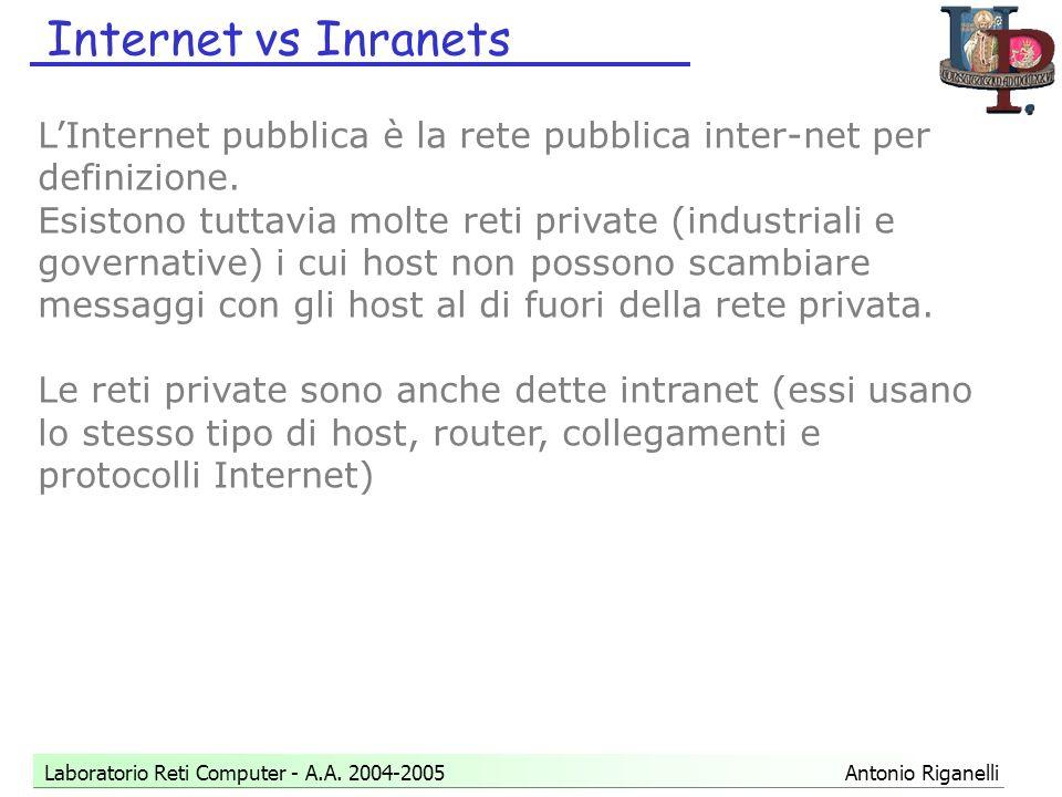 Internet vs Inranets Laboratorio Reti Computer - A.A.