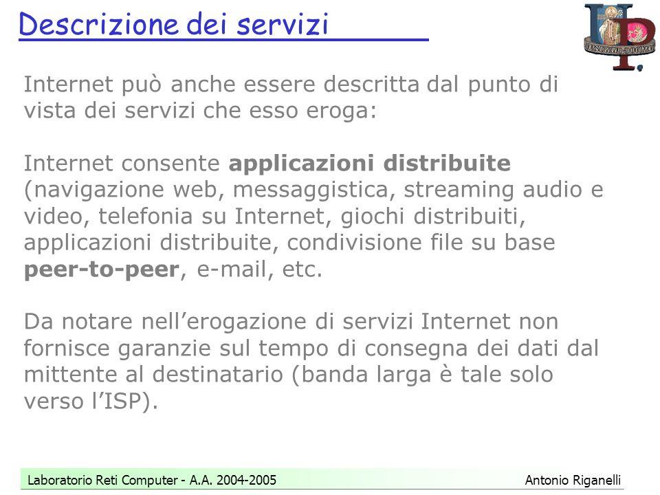 Descrizione dei servizi Laboratorio Reti Computer - A.A.