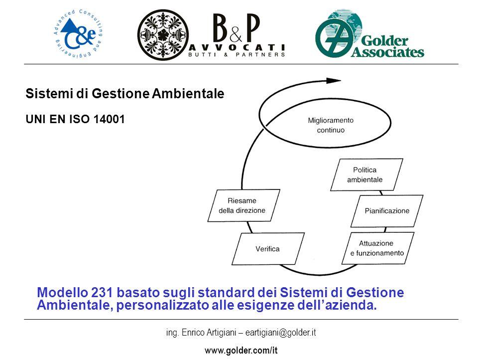 ing. Enrico Artigiani – eartigiani@golder.it www.golder.com/it Modello 231 basato sugli standard dei Sistemi di Gestione Ambientale, personalizzato al