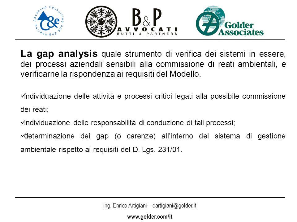 ing. Enrico Artigiani – eartigiani@golder.it www.golder.com/it La gap analysis quale strumento di verifica dei sistemi in essere, dei processi azienda