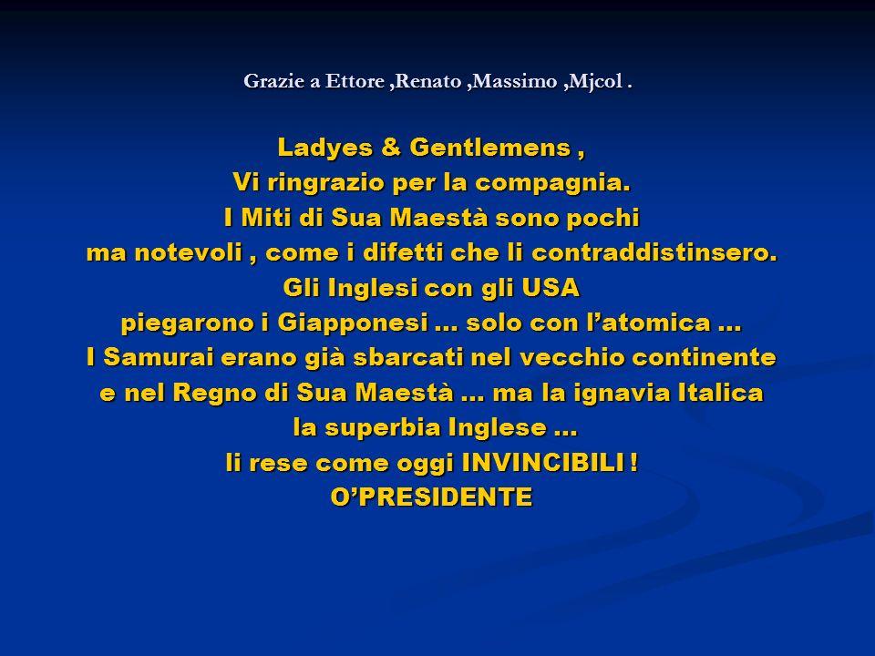 Grazie a Ettore,Renato,Massimo,Mjcol. Ladyes & Gentlemens, Vi ringrazio per la compagnia.