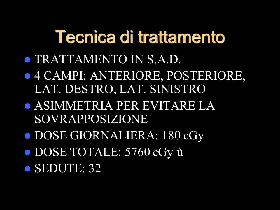 Tecnica di trattamento TRATTAMENTO IN S.A.D. 4 CAMPI: ANTERIORE, POSTERIORE, LAT. DESTRO, LAT. SINISTRO ASIMMETRIA PER EVITARE LA SOVRAPPOSIZIONE DOSE