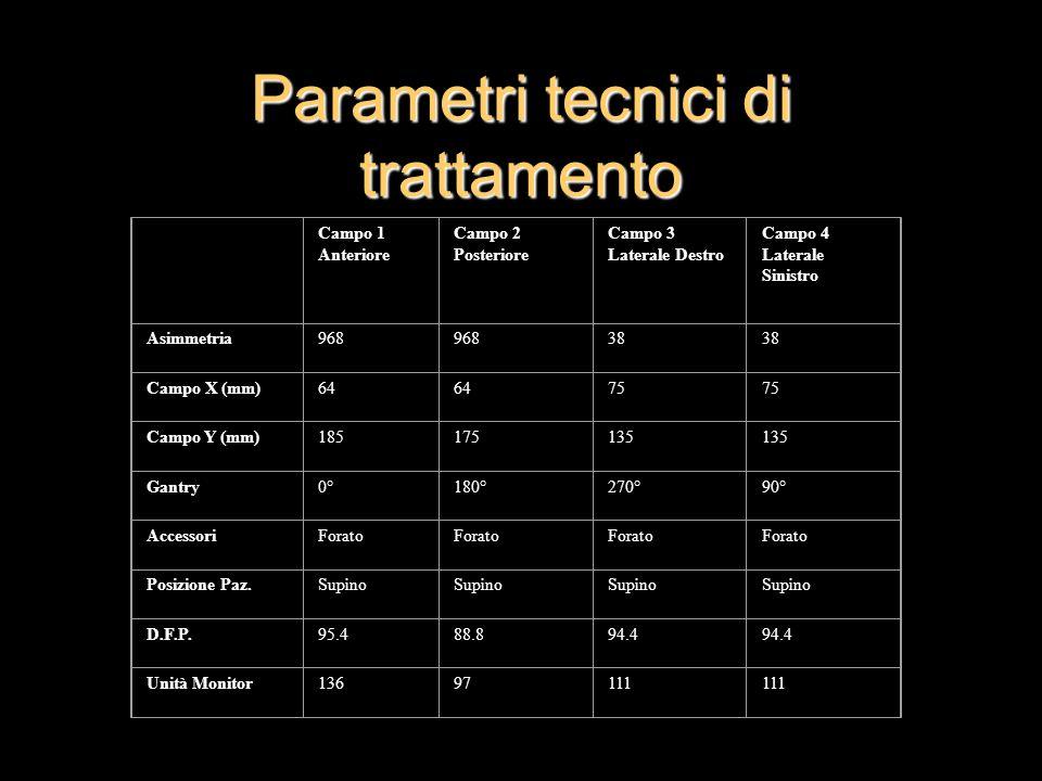 Parametri tecnici di trattamento Campo 1 Anteriore Campo 2 Posteriore Campo 3 Laterale Destro Campo 4 Laterale Sinistro Asimmetria968 38 Campo X (mm)6