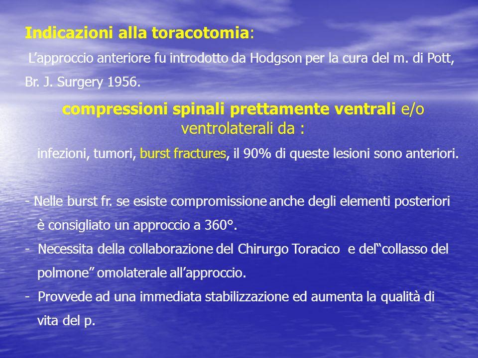 Indicazioni alla toracotomia: Lapproccio anteriore fu introdotto da Hodgson per la cura del m. di Pott, Br. J. Surgery 1956. compressioni spinali pret