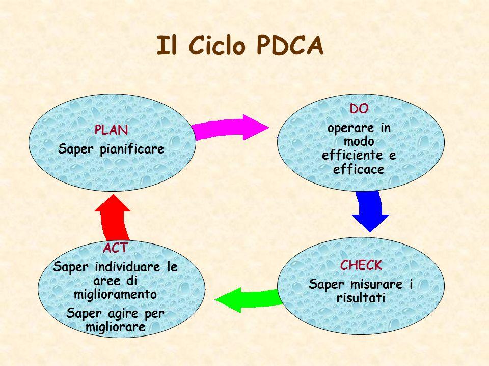 Il Ciclo PDCA DO operare in modo efficiente e efficace CHECK Saper misurare i risultati PLAN Saper pianificare ACT Saper individuare le aree di miglio