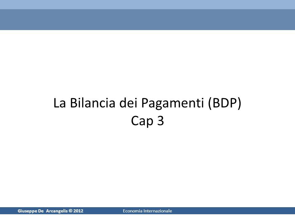 Giuseppe De Arcangelis © 20121Economia Internazionale La Bilancia dei Pagamenti (BDP) Cap 3