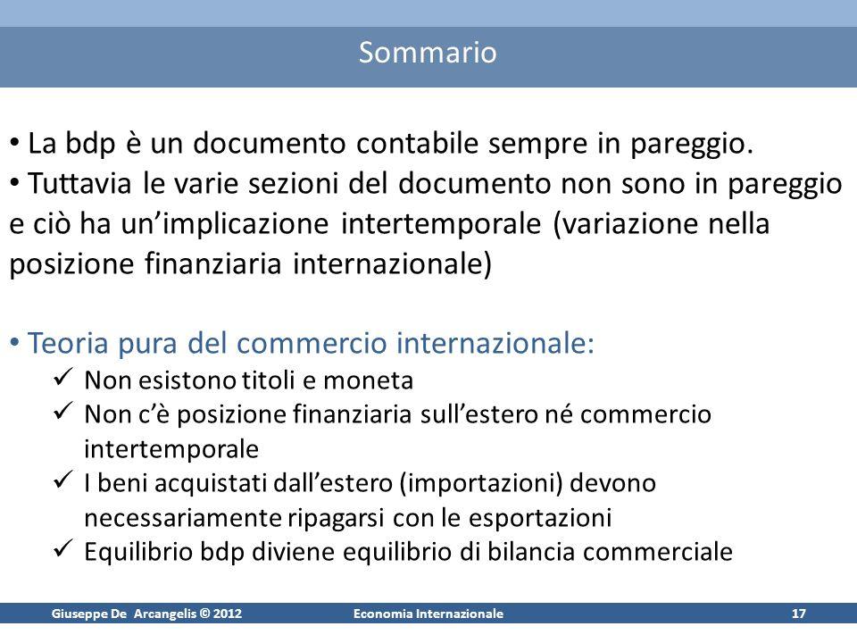 Giuseppe De Arcangelis © 2012Economia Internazionale17 Sommario La bdp è un documento contabile sempre in pareggio. Tuttavia le varie sezioni del docu