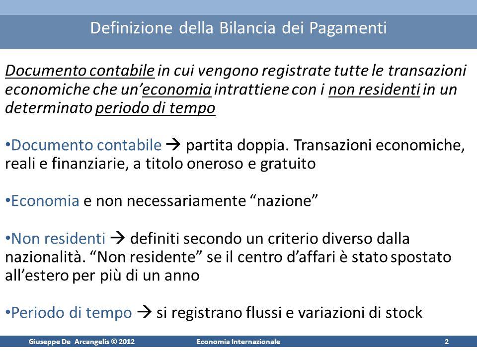 Giuseppe De Arcangelis © 2012Economia Internazionale2 Definizione della Bilancia dei Pagamenti Documento contabile in cui vengono registrate tutte le