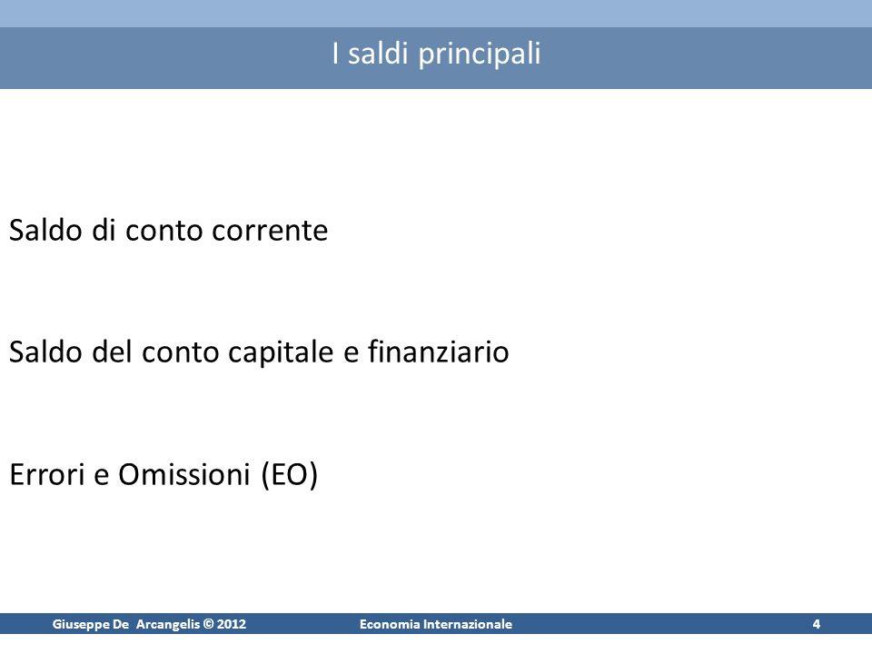Giuseppe De Arcangelis © 2012Economia Internazionale4 I saldi principali Saldo di conto corrente Saldo del conto capitale e finanziario Errori e Omissioni (EO)