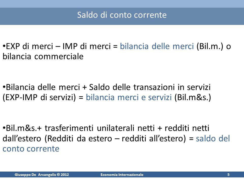 Giuseppe De Arcangelis © 2012Economia Internazionale5 Saldo di conto corrente EXP di merci – IMP di merci = bilancia delle merci (Bil.m.) o bilancia c