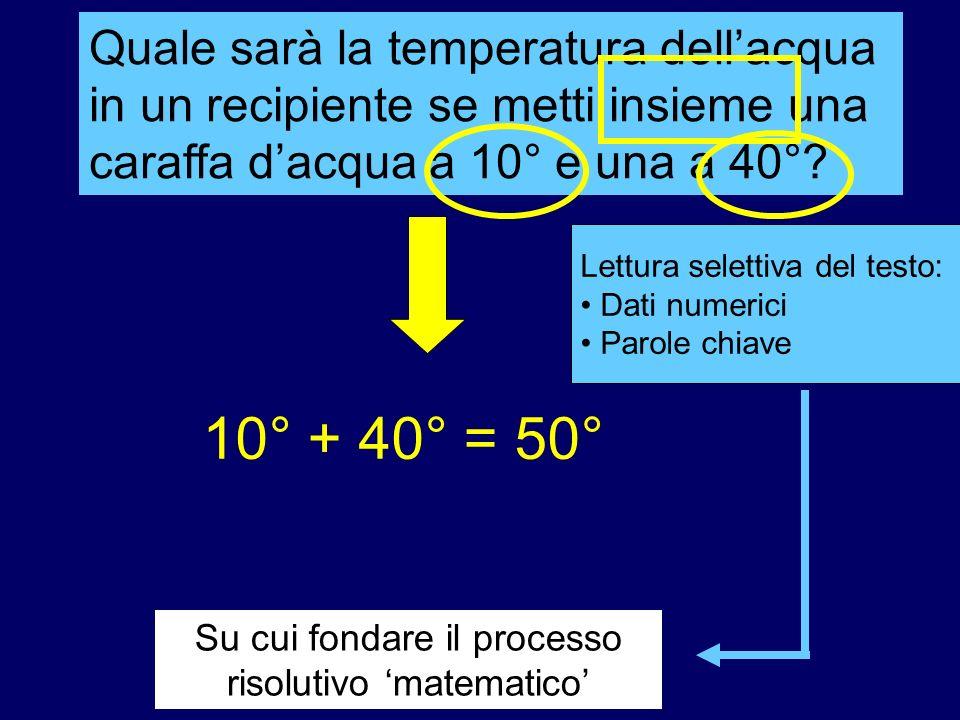 Su cui fondare il processo risolutivo matematico Lettura selettiva del testo: Dati numerici Parole chiave Quale sarà la temperatura dellacqua in un re