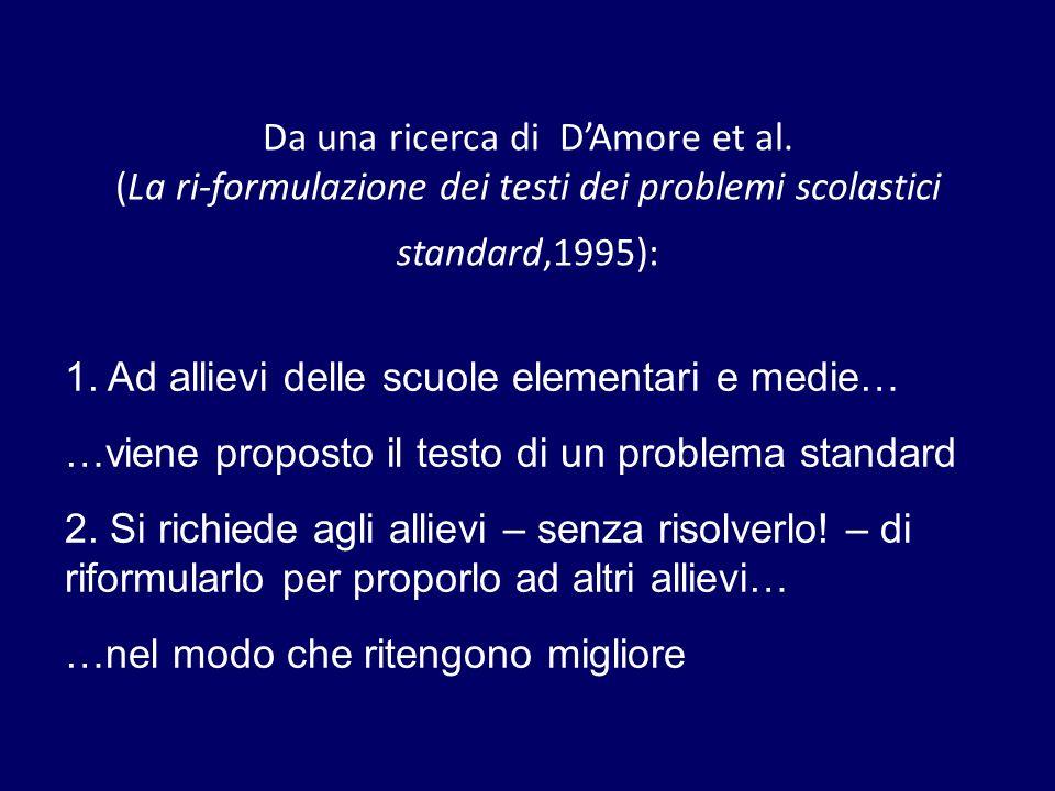 Da una ricerca di DAmore et al. (La ri-formulazione dei testi dei problemi scolastici standard,1995): 1. Ad allievi delle scuole elementari e medie… …