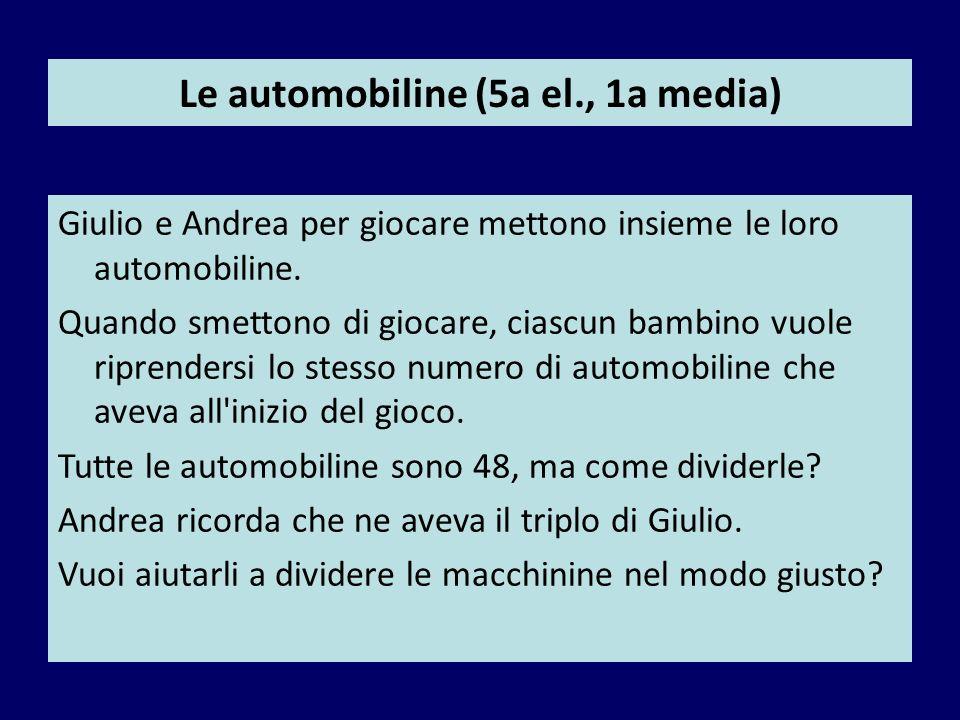 Le automobiline (5a el., 1a media) Giulio e Andrea per giocare mettono insieme le loro automobiline. Quando smettono di giocare, ciascun bambino vuole