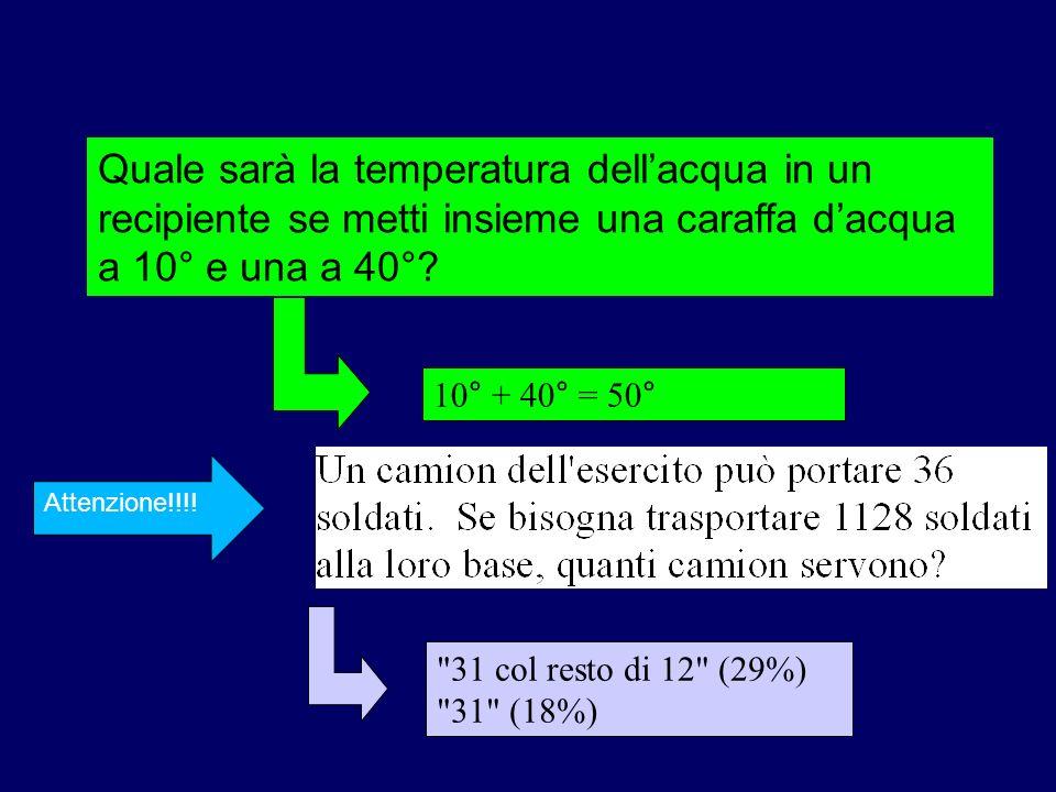 10° + 40° = 50° Quale sarà la temperatura dellacqua in un recipiente se metti insieme una caraffa dacqua a 10° e una a 40°?