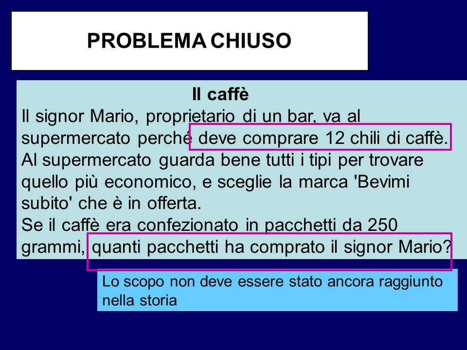 Lo scopo non deve essere stato ancora raggiunto nella storia Il caffè Il signor Mario, proprietario di un bar, va al supermercato perché deve comprare