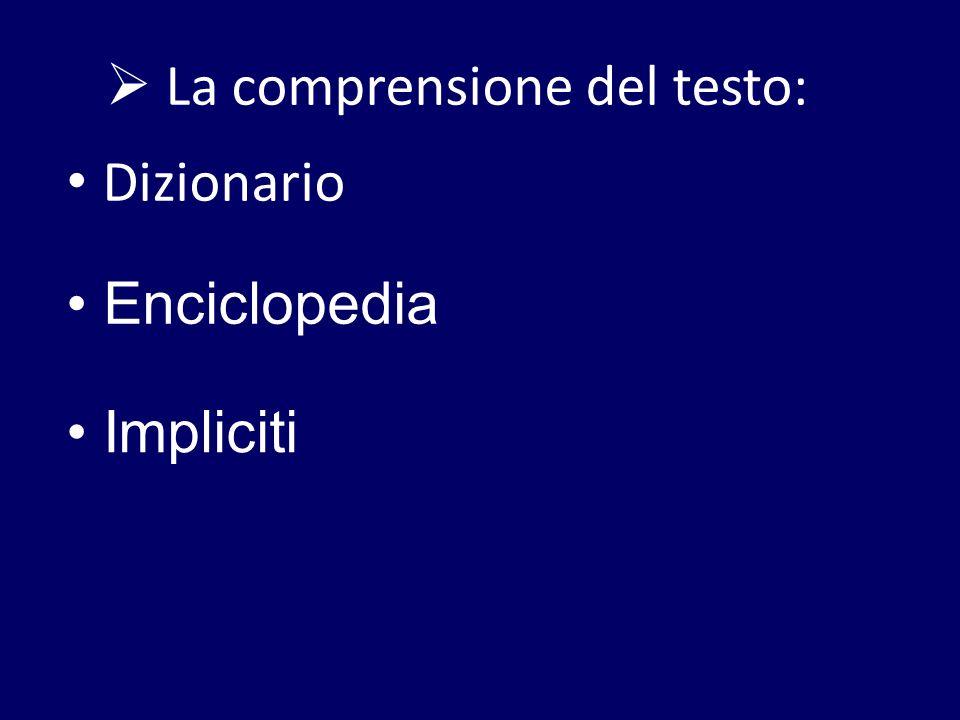 La comprensione del testo: Dizionario Enciclopedia Impliciti