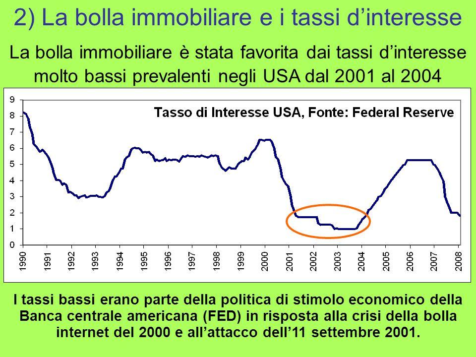 La bolla immobiliare è stata favorita dai tassi dinteresse molto bassi prevalenti negli USA dal 2001 al 2004 2) La bolla immobiliare e i tassi dintere