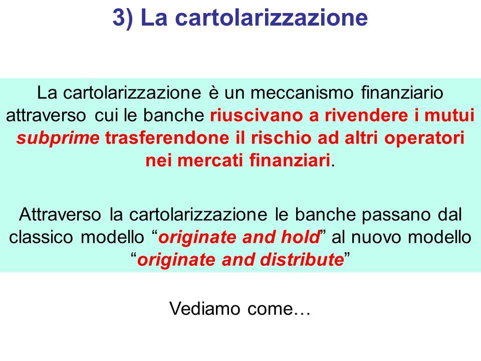 3) La cartolarizzazione La cartolarizzazione è un meccanismo finanziario attraverso cui le banche riuscivano a rivendere i mutui subprime trasferendon