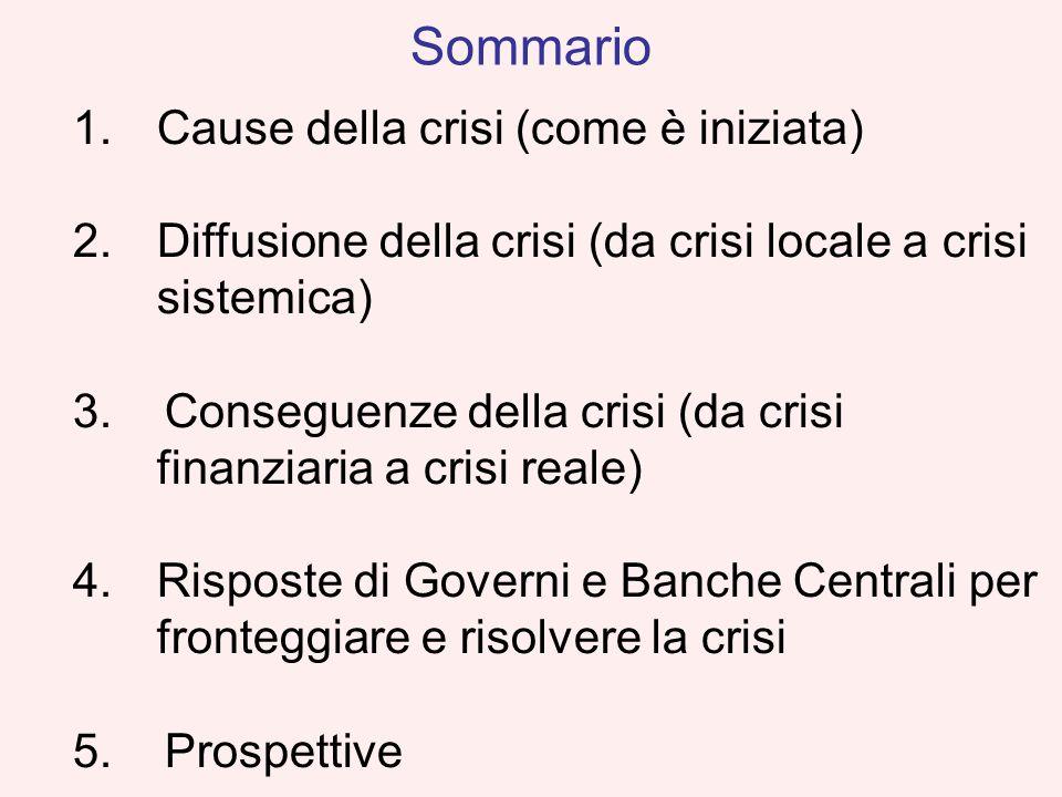 1.Cause della crisi (come è iniziata) 2.Diffusione della crisi (da crisi locale a crisi sistemica) 3. Conseguenze della crisi (da crisi finanziaria a