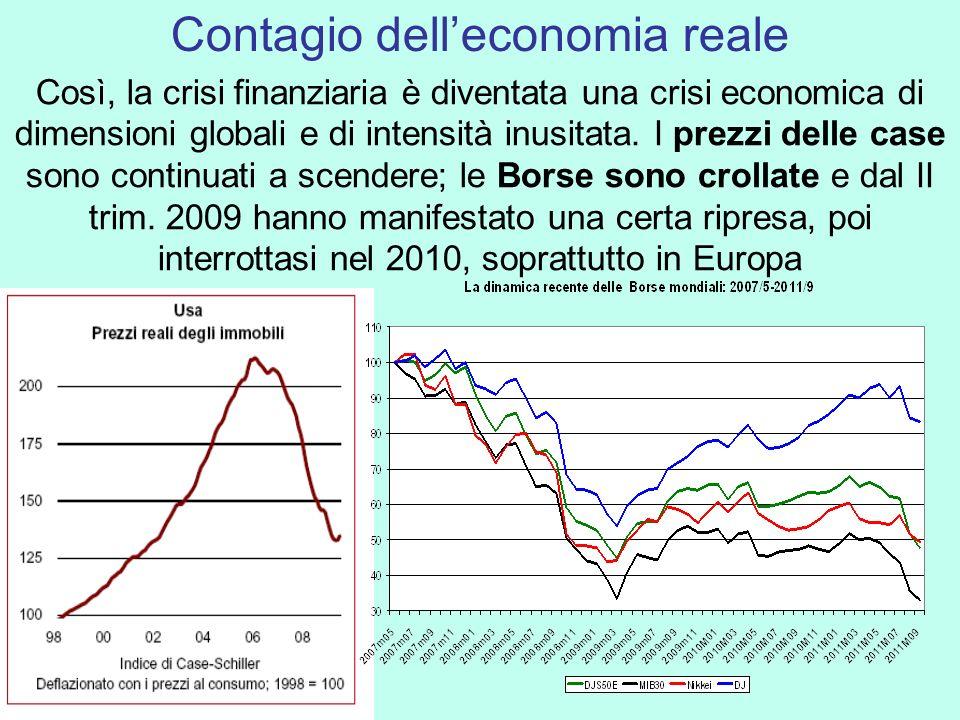 Così, la crisi finanziaria è diventata una crisi economica di dimensioni globali e di intensità inusitata. I prezzi delle case sono continuati a scend