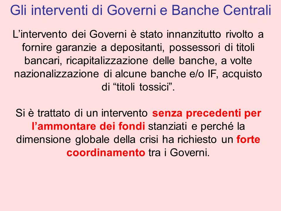 Lintervento dei Governi è stato innanzitutto rivolto a fornire garanzie a depositanti, possessori di titoli bancari, ricapitalizzazione delle banche,