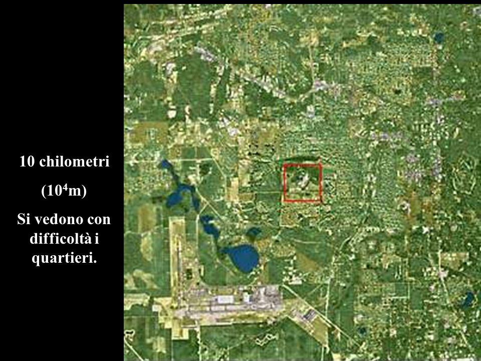 10 chilometri (10 4 m) Si vedono con difficoltà i quartieri.