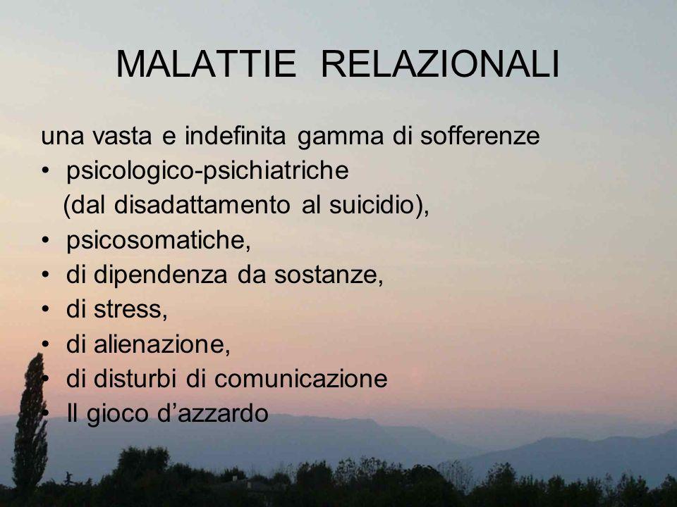 MALATTIE RELAZIONALI una vasta e indefinita gamma di sofferenze psicologico-psichiatriche (dal disadattamento al suicidio), psicosomatiche, di dipende