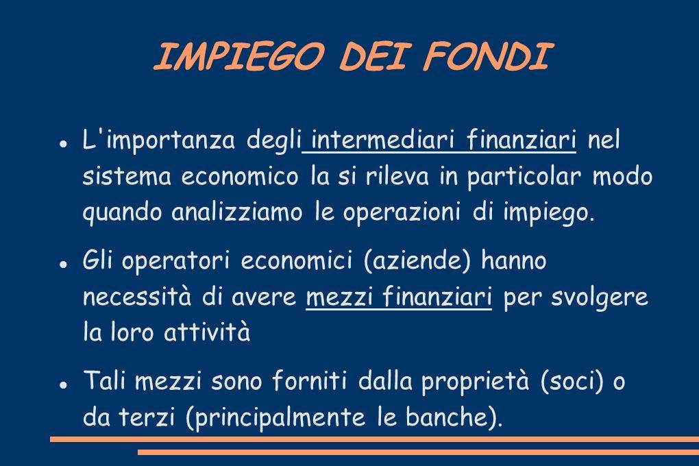 IMPIEGO DEI FONDI L'importanza degli intermediari finanziari nel sistema economico la si rileva in particolar modo quando analizziamo le operazioni di