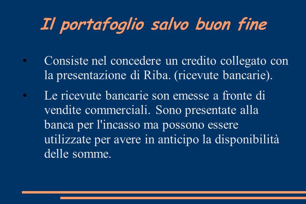 Il portafoglio salvo buon fine Consiste nel concedere un credito collegato con la presentazione di Riba. (ricevute bancarie). Le ricevute bancarie son
