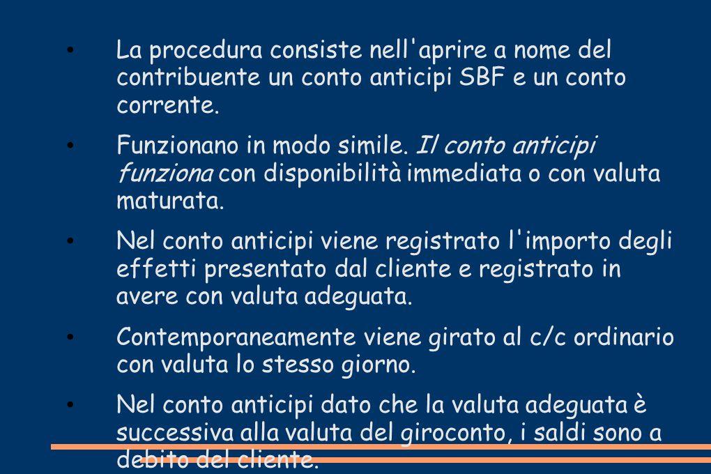 La procedura consiste nell'aprire a nome del contribuente un conto anticipi SBF e un conto corrente. Funzionano in modo simile. Il conto anticipi funz