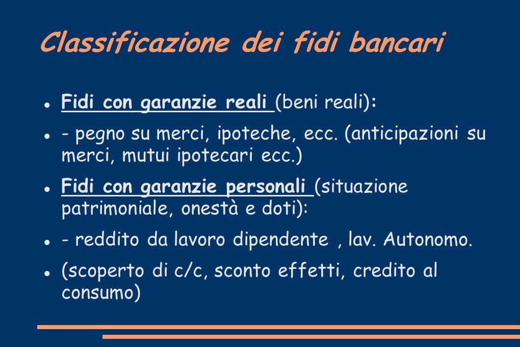 Classificazione dei fidi bancari Fidi con garanzie reali (beni reali): - pegno su merci, ipoteche, ecc. (anticipazioni su merci, mutui ipotecari ecc.)