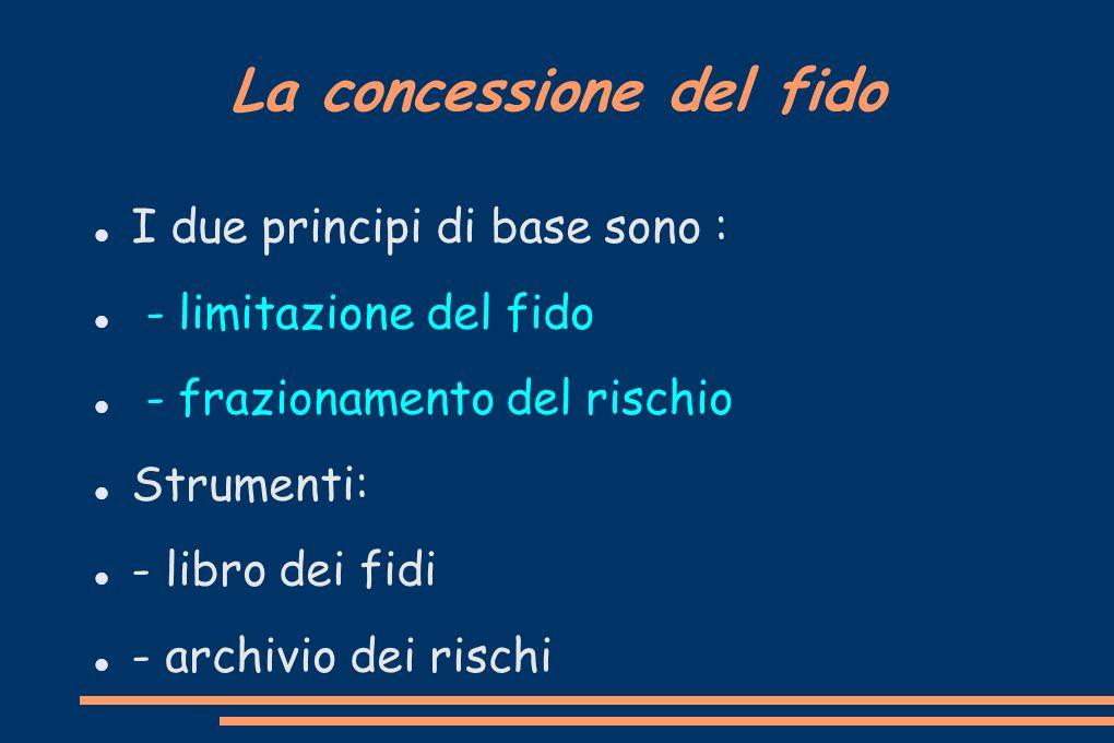 La concessione del fido I due principi di base sono : - limitazione del fido - frazionamento del rischio Strumenti: - libro dei fidi - archivio dei ri