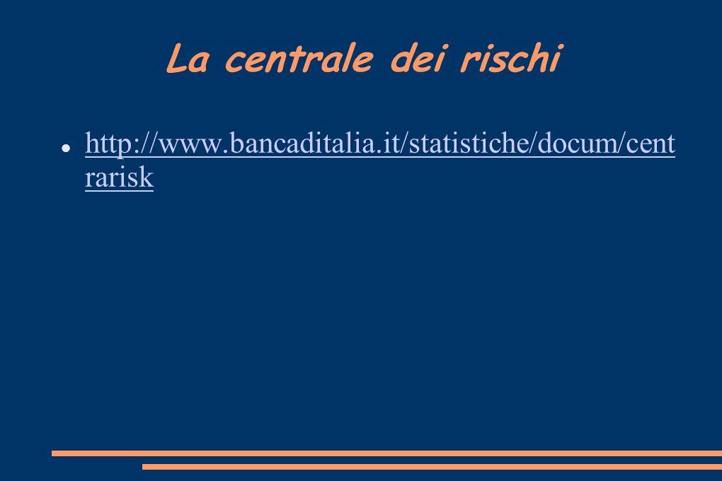 La centrale dei rischi http://www.bancaditalia.it/statistiche/docum/cent rarisk http://www.bancaditalia.it/statistiche/docum/cent rarisk