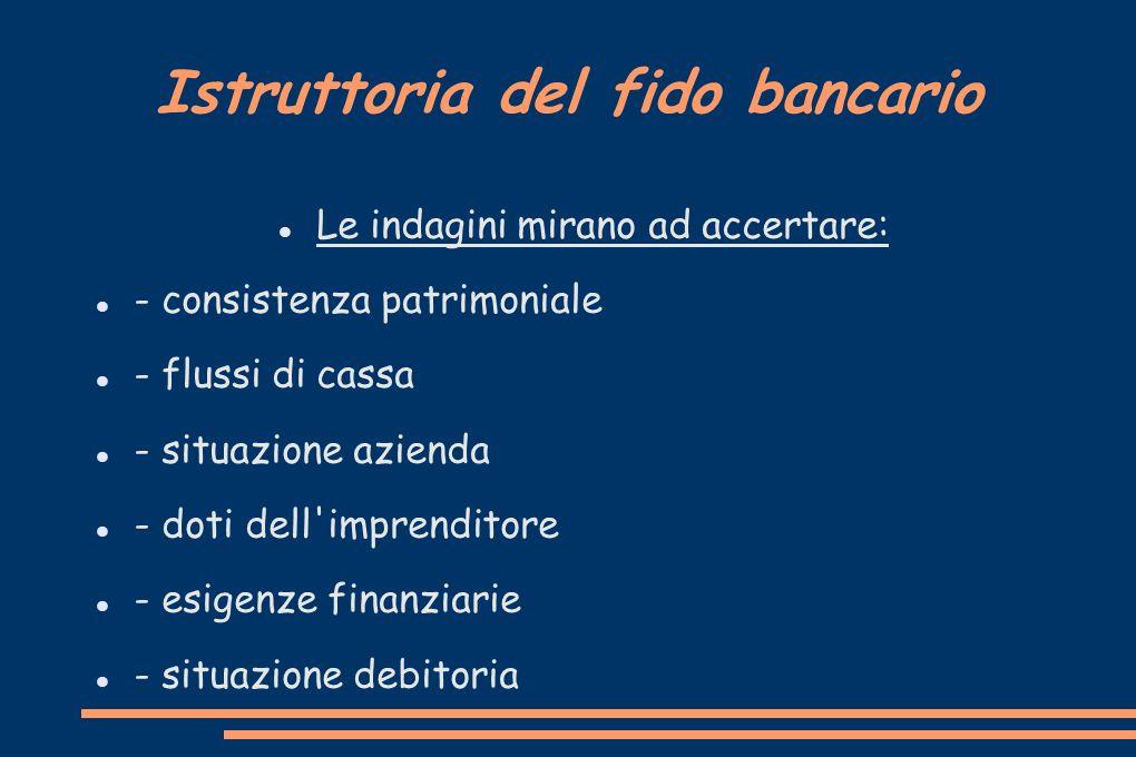 Istruttoria del fido bancario Le indagini mirano ad accertare: - consistenza patrimoniale - flussi di cassa - situazione azienda - doti dell'imprendit