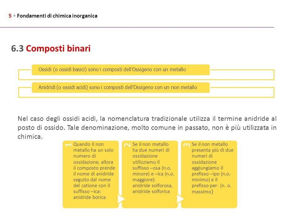 6.3 Composti binari 5 Fondamenti di chimica inorganica Ossidi (o ossidi basici) sono i composti dellOssigeno con un metalloAnidridi (o ossidi acidi) s