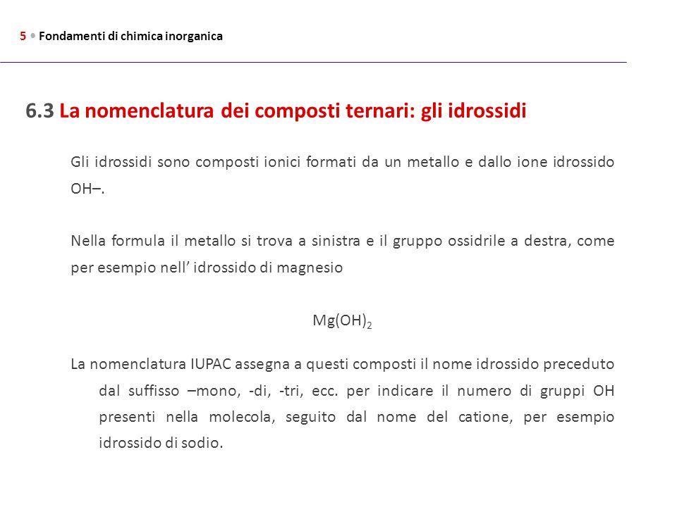 6.3 La nomenclatura dei composti ternari: gli idrossidi 5 Fondamenti di chimica inorganica Gli idrossidi sono composti ionici formati da un metallo e