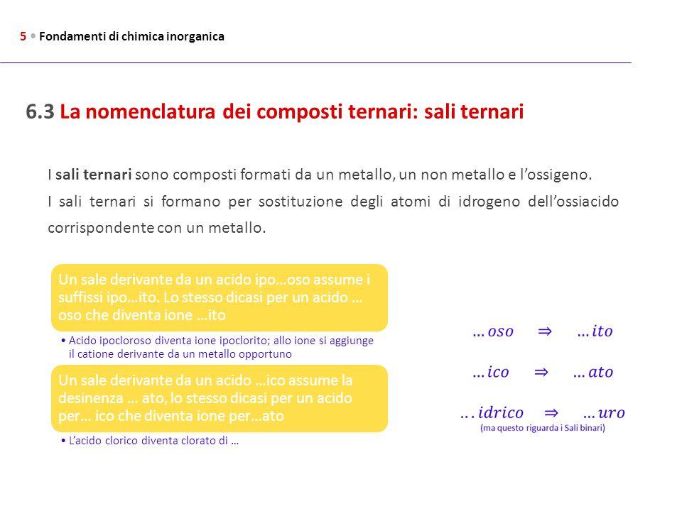 6.3 La nomenclatura dei composti ternari: sali ternari 5 Fondamenti di chimica inorganica I sali ternari sono composti formati da un metallo, un non m