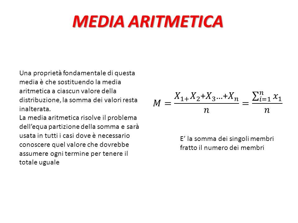 MEDIA ARITMETICA Una proprietà fondamentale di questa media è che sostituendo la media aritmetica a ciascun valore della distribuzione, la somma dei v