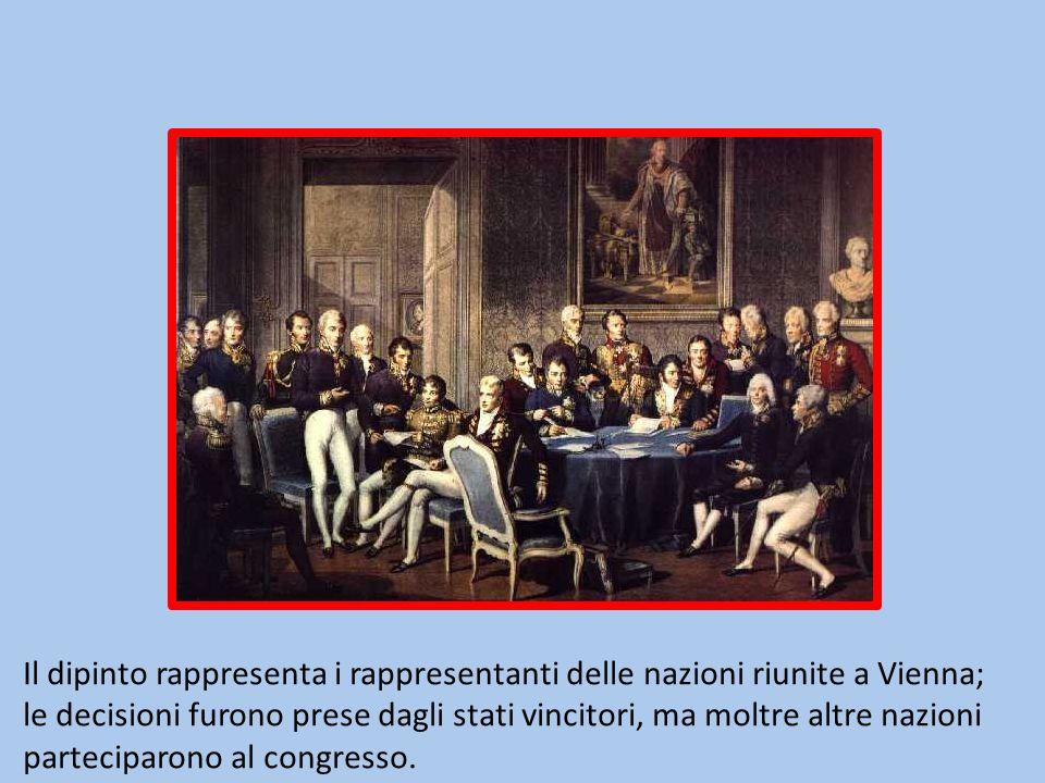 Il dipinto rappresenta i rappresentanti delle nazioni riunite a Vienna; le decisioni furono prese dagli stati vincitori, ma moltre altre nazioni parte