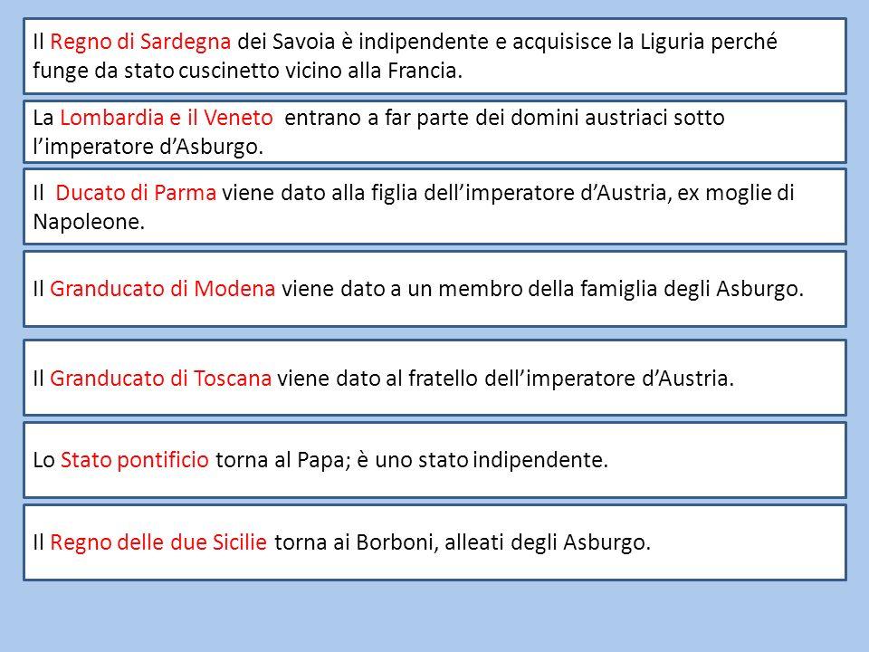 Il Regno di Sardegna dei Savoia è indipendente e acquisisce la Liguria perché funge da stato cuscinetto vicino alla Francia. La Lombardia e il Veneto