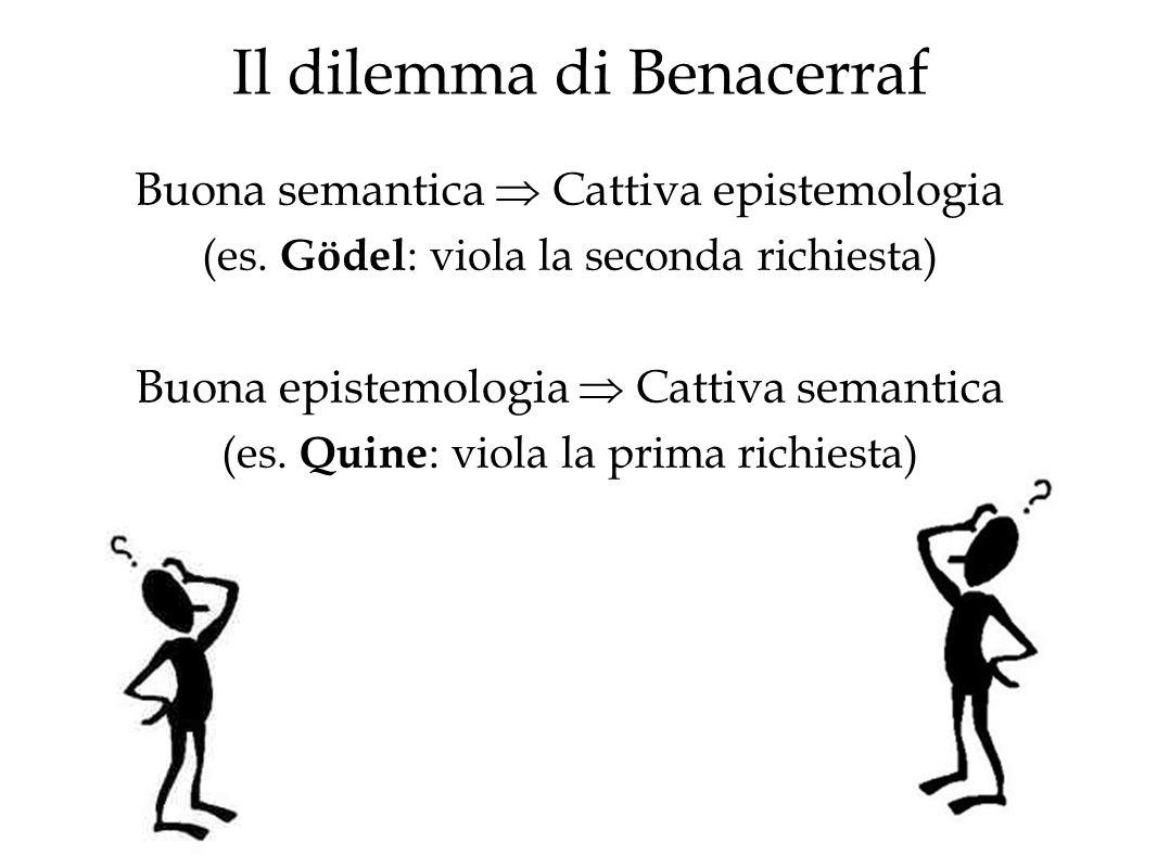Il dilemma di Benacerraf Buona semantica Cattiva epistemologia (es. Gödel : viola la seconda richiesta) Buona epistemologia Cattiva semantica (es. Qui