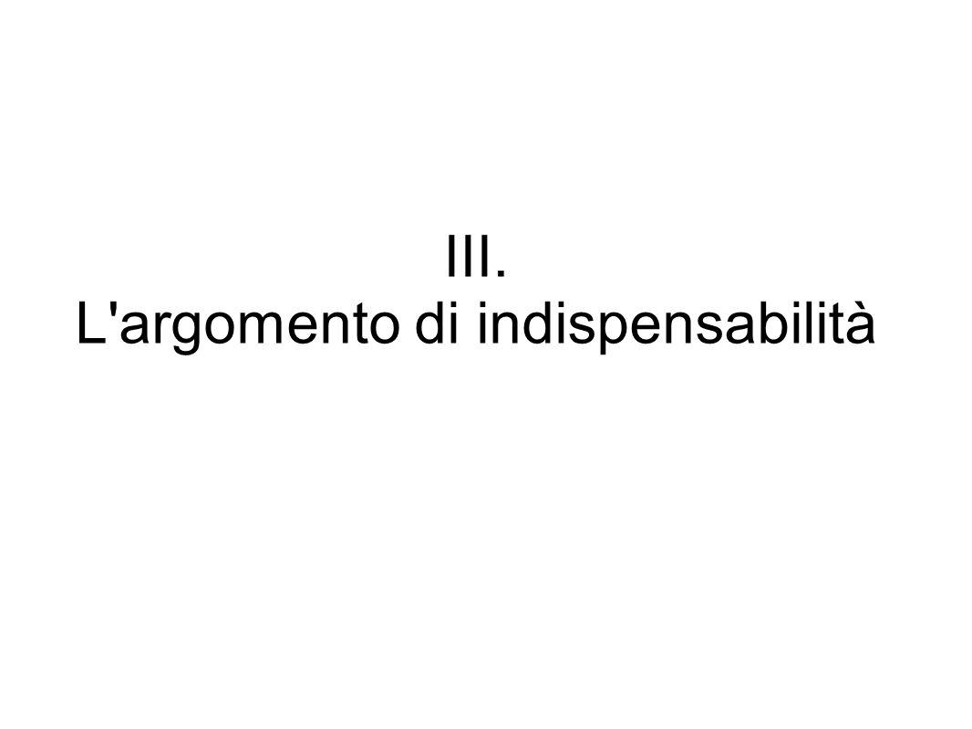 III. L'argomento di indispensabilità