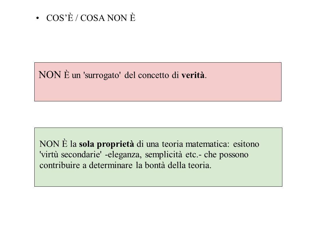 COSÈ / COSA NON È NON È un 'surrogato' del concetto di verità. NON È la sola proprietà di una teoria matematica: esitono 'virtù secondarie' -eleganza,