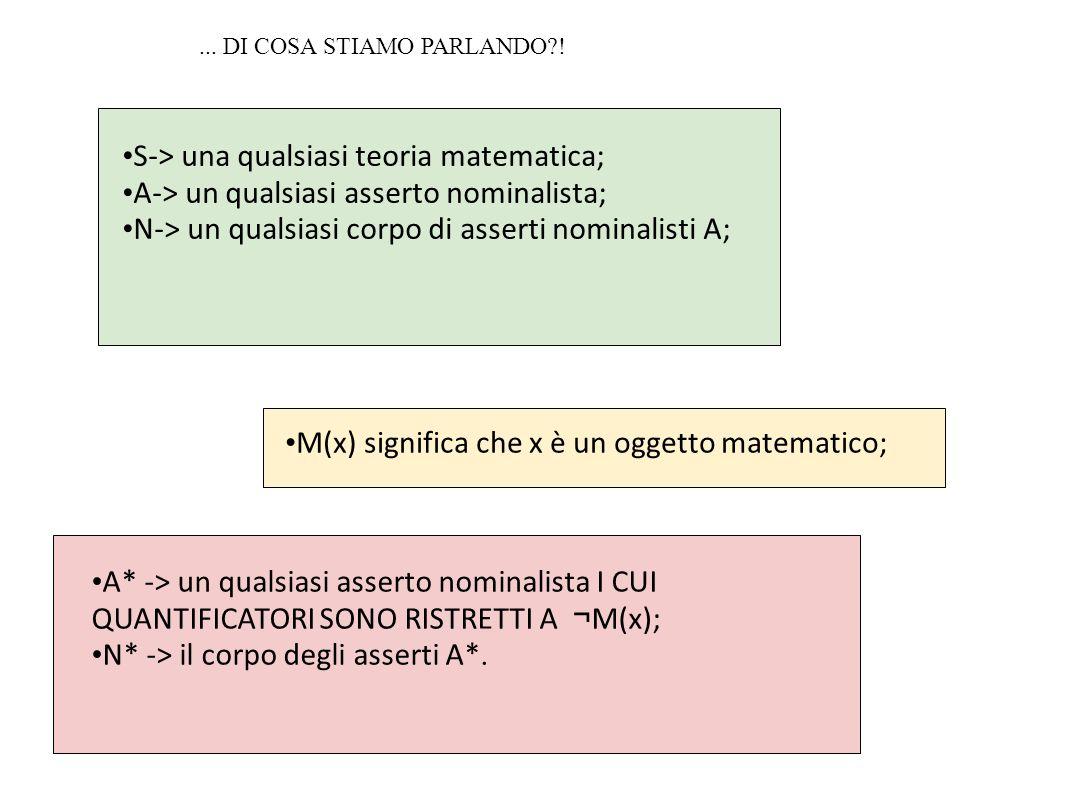 S-> una qualsiasi teoria matematica; A-> un qualsiasi asserto nominalista; N-> un qualsiasi corpo di asserti nominalisti A; M(x) significa che x è un