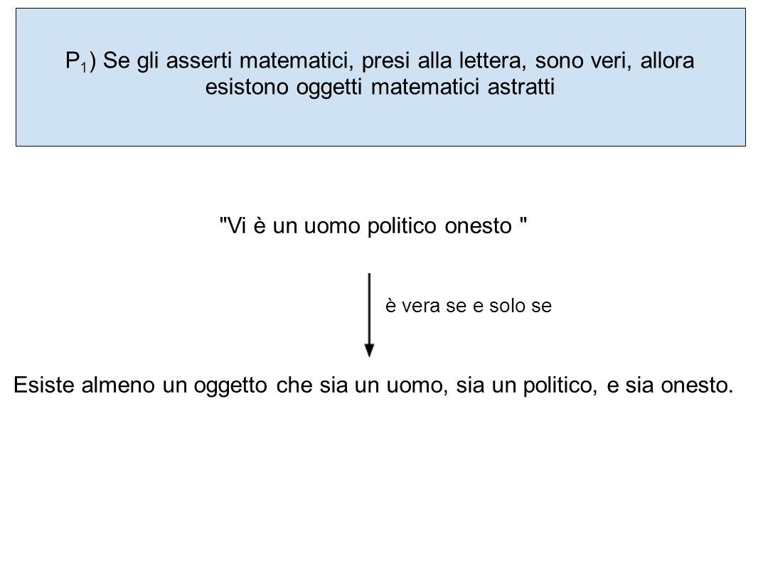 P 1 ) Se gli asserti matematici, presi alla lettera, sono veri, allora esistono oggetti matematici astratti