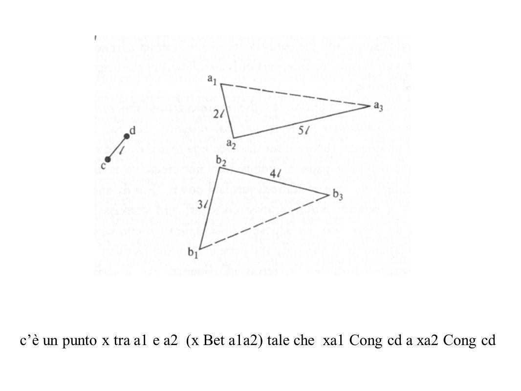 cè un punto x tra a1 e a2 (x Bet a1a2) tale che xa1 Cong cd a xa2 Cong cd